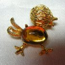 Jelly belly pin brooch vintage citrine baby bird chick ll1980