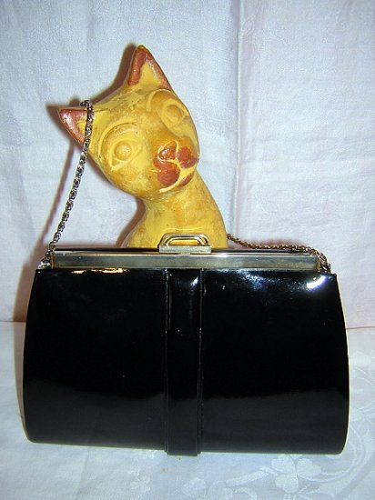 Black patent leather handbag w chain deco style vintage ll1588