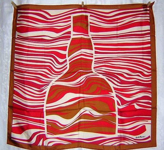 Canova silk scarf Grand Marnier bottle made France large mint ll1780