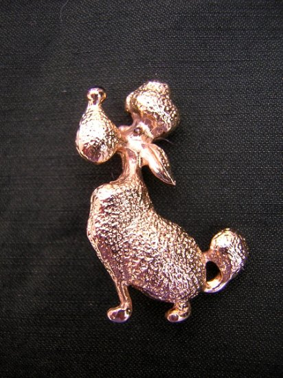 Snooty pooch gold-tone pin brooch coiffed poodle cutie ll1976
