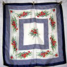 Acetate twill scarf floral sprays with navy great vintage ll1868