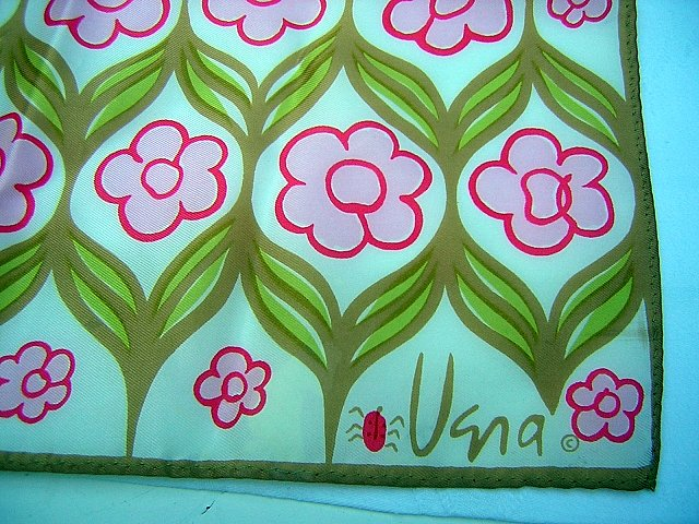 Vera scarf mod flowers signed ladybug acetate unused vintage ll1866