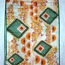 Vintage acetate scarf long bright Aztec like print unused ll1864