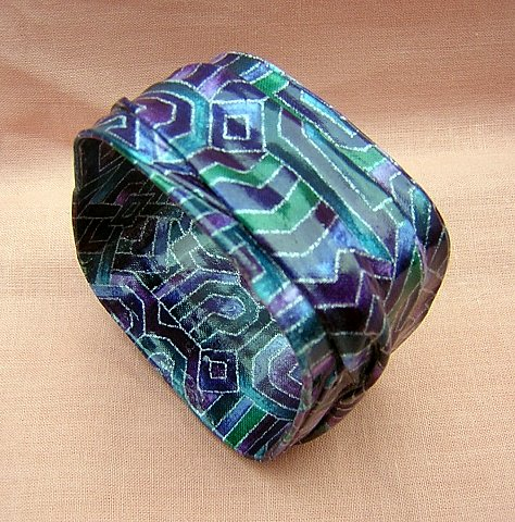 Handmade painted draped fabric mache bangle bracelet ll1920