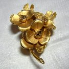 Corocraft goldtone dogwood brooch pin as new vintage ll1973