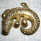 Alligator crocodile goldtone brooch pin as new vintage ll1970