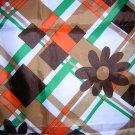 Retro mod acetate scarf daisies with orange green tan ll1860