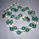 2 Strand bead necklace turquoise lucite plastic vintage jewelry ll2037
