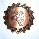 Solid copper pin brooch bird motif Southwest vintage ll1964