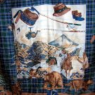 Hunting fishing theme large ladies scarf w tartan plaid ll1854