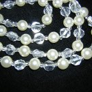 Plastic rope necklace faux pearls crystals 55 inches vintage jewelry ll2032