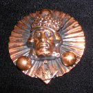 Copper pleated brooch pin crowned head vintage unusual ll1959