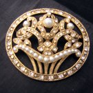 Richelieu flower basket pin brooch pearl marcasite vintage ll1956