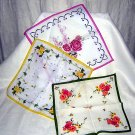 3 Cotton hankies floral prints unused vintage hot pink green yellow ll1643