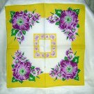 Purple flowers on yellow vintage cotton hanky ll1642
