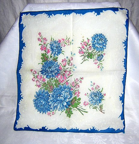 Blue chrysanthemums vintage cotton hanky pink bell flowers ll1640