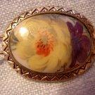 Vintage antique hand painted barette floral oval hair accessories ll2045