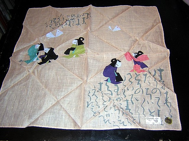 Cotton hanky Japanese stylized ladies new with factory stickers ll1634