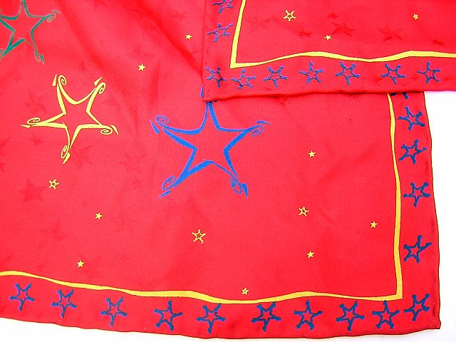 Stars on red jacquard silk scarf high quality holiday perfect ll1740