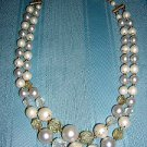 2 Strand lucite plastic speckled bead necklace extender vintage jewelry ll2025