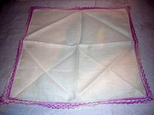 White cotton vintage hanky lilac crocheted edge ll1630