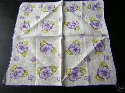 Vintage printed linen hanky purple pansies handmade ll1628