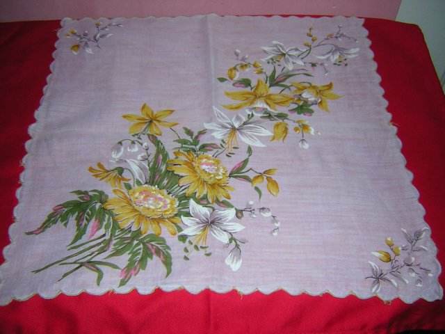 Vintage printed cotton hanky daffodils mums more ll1627