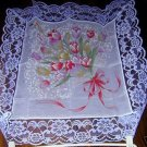 Hanasenka cotton and lace scarf bouquet of tulips unused tags