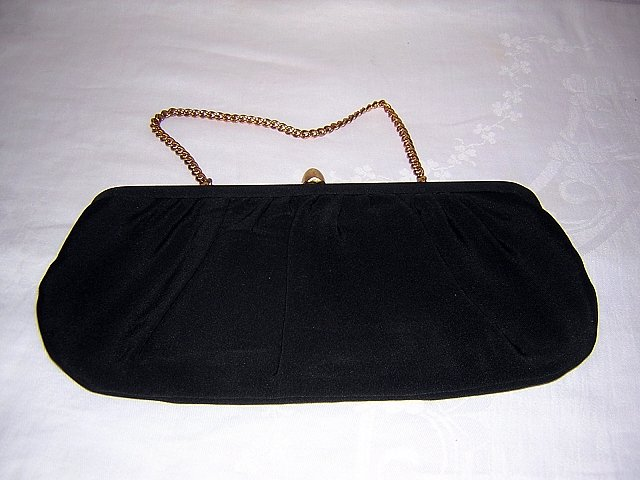 Classic little black evening bag draped rayon 1950s vintage ll1528