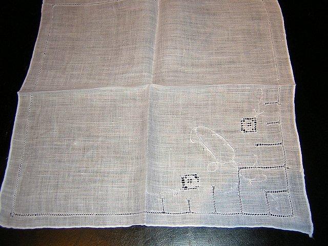 Vintage linen hanky monogram D threadwork handmade ll1626