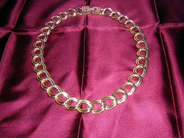 Keyes heavy double link gold tone chain necklace vintage jewelry ll2014