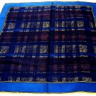 Unisex Italian silk scarf or pocket puff rolled hem subdued plaid unused ll1727