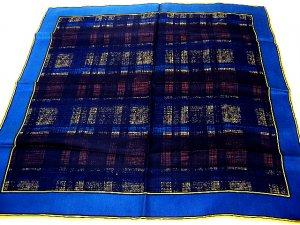 Unisex Italian silk scarf or pocket puff rolled hem subdued plaid unused ll1727