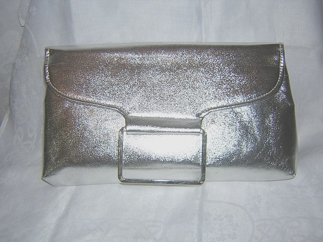 H L USA silver leatherette clutch purse evening bag bold 60s vintage ll1521