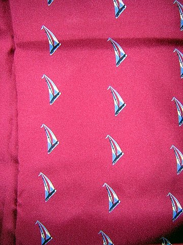 Large silk scarf sailboats on burgundy rolled hem unused ll1722