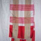 Long plaid silk scarf fringed ends red white coffee unused ll1719