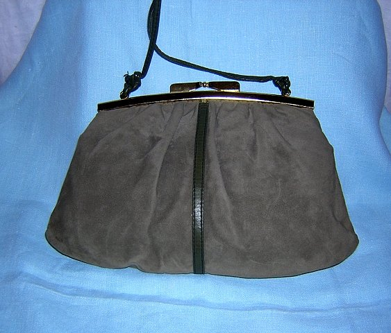 JR Canada faux suede purse taupe spaghetti strap vintage dressy ll1499