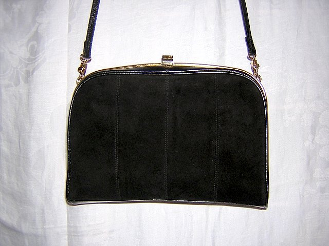 Black kid and suede shoulder bag La Scala vintage nice shape ll1498