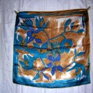 Acetate scarf loose turquoise tan floral rolled hem unused vintage ll1840
