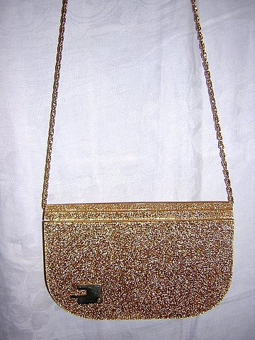 Gold flecked lucite and gold leatherette evening bag vintage ll1518