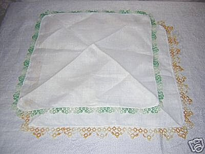 2 Tatted edge hankies vintage great handmade ll1623