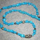 Genuine Turquoise bead necklace silver stations clasp vintage jewelry ll2010