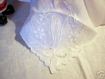 Vintage white embroidered linen hanky monogrammed ll1622