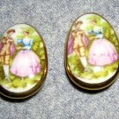 Fragonard signed china earrings transfer painting lovers clip backs vintage jewelry ll2007