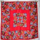 Bright vintage polyester scarf flowers on red by Runway ll1838