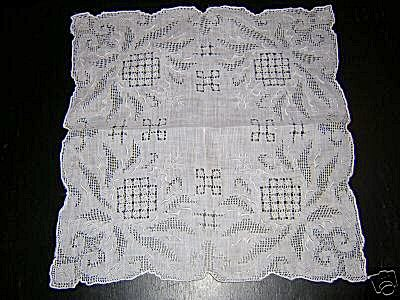 Appenzel embroidery threadwork wedding hanky vintage antique ll1620