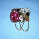 Artisan made collage brooch pin beads rhinestones chains signed Lee ll1945