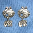 Noah's ark brass tone earrings elephant drops pierced vintage jewelry ll2006