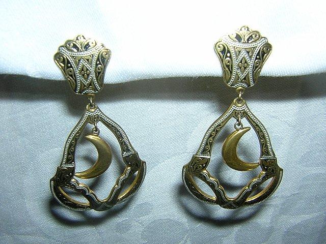 Brass chandelier earrings Damasquinado de Toledo clips vintage jewelry ll1683
