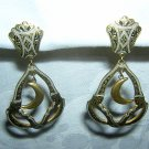 Brass chandelier earrings Damasquinado de Toledo clips vintage jewelry ll1683